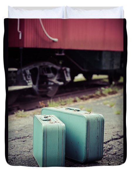 Vintage Blue Suitcases With Red Caboose Duvet Cover