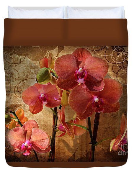 Vintage Burnt Orange Orchids Duvet Cover