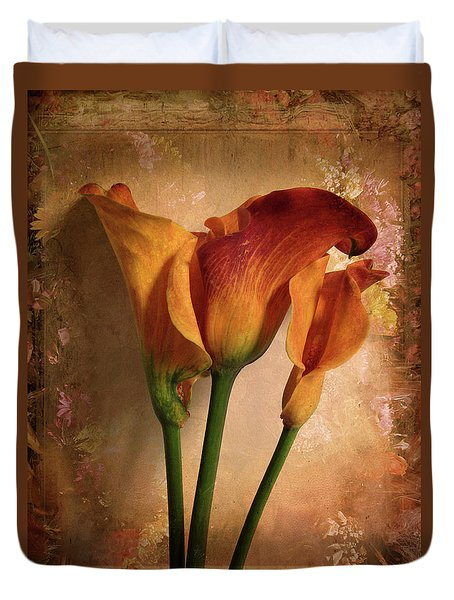 Duvet Cover featuring the photograph Vintage Calla Lily by Jessica Jenney