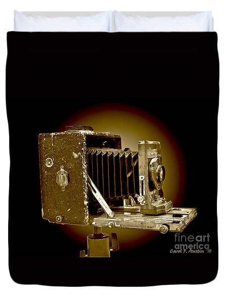 Vintage Camera In Sepia Tones Duvet Cover
