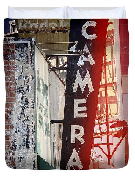 Vintage Camera Sign Duvet Cover by Nina Prommer