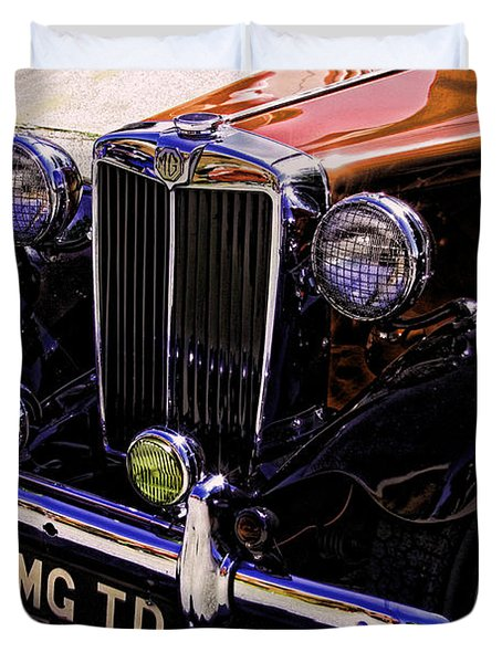 Vintage Car Art 51 Mg Td Copper Duvet Cover