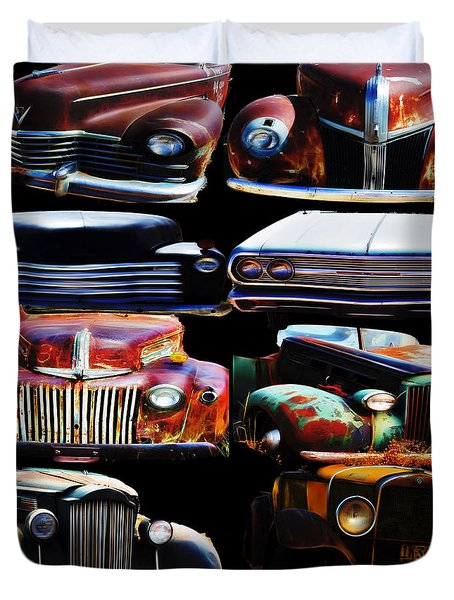 Vintage Cars Collage 2 Duvet Cover by Cathy Anderson