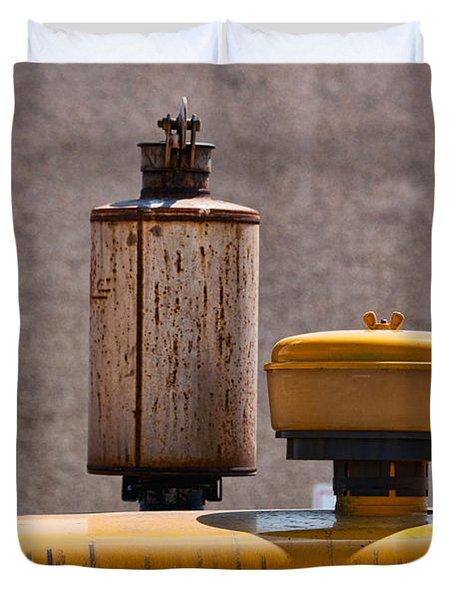 Vintage Caterpillar Machine Duvet Cover by Les Palenik