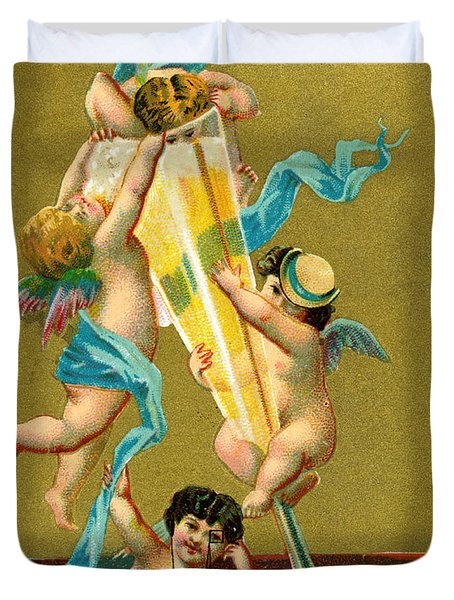 Vintage Cherubs Drinking Champagne Duvet Cover by Historic Image