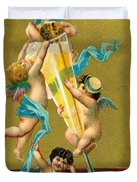 Vintage Cherubs Drinking Champagne Duvet Cover