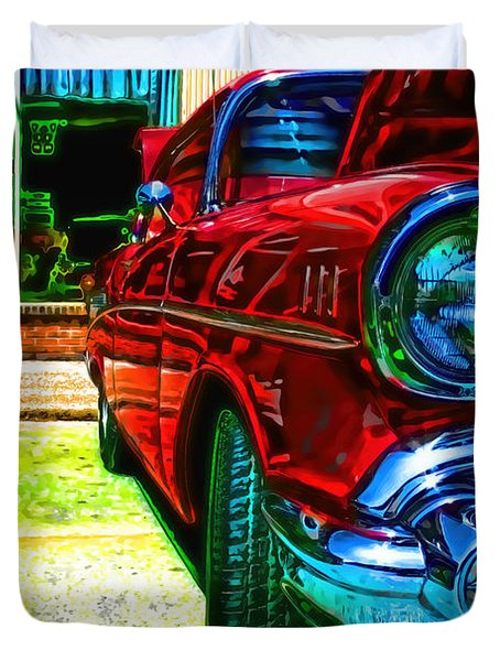 Vintage Chevy Car Art Alley Cat Red Duvet Cover
