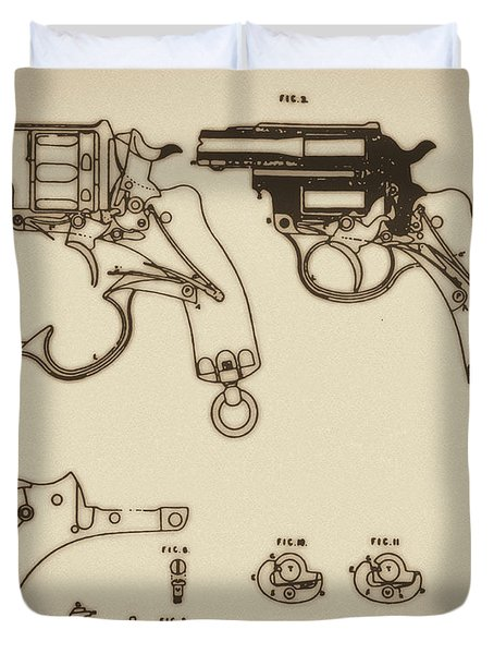 Vintage Colt Revolver Drawing Duvet Cover by Nenad Cerovic