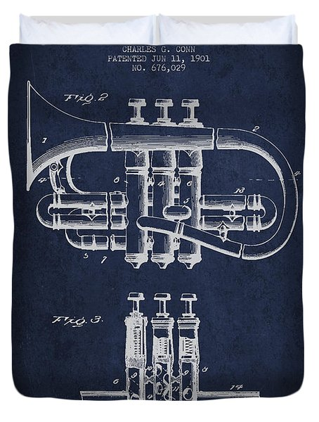 Cornet Patent Drawing From 1901 - Blue Duvet Cover by Aged Pixel