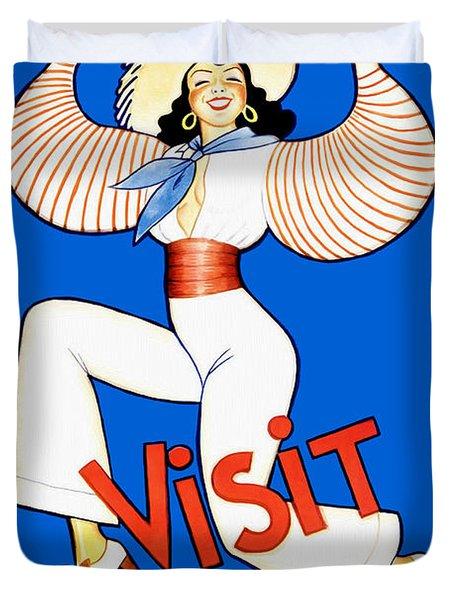 Vintage Cuba Travel Poster Duvet Cover
