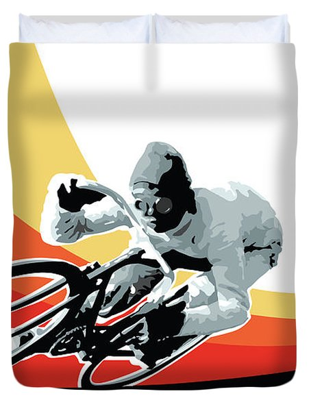 Vintage Cyclist With Colored Swoosh Poster Print Speed Demon Duvet Cover