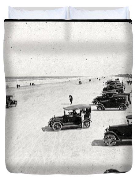 Vintage Daytona Beach Florida Duvet Cover by Edward Fielding