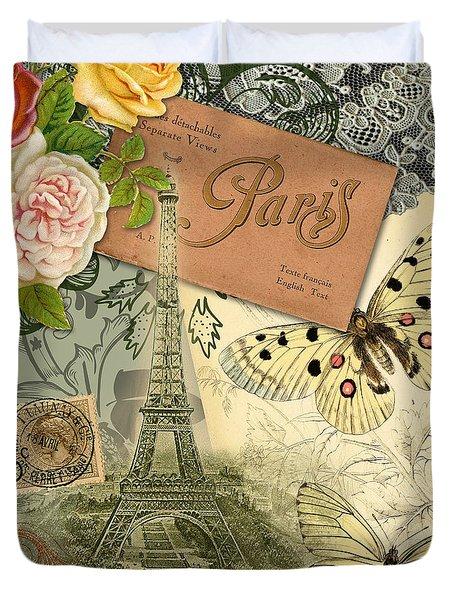 Vintage Eiffel Tower Paris France Collage Duvet Cover