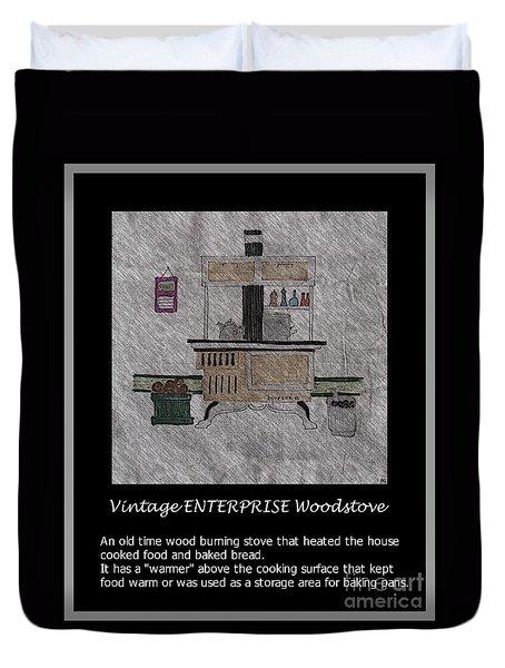 Vintage Enterprise Woodstove Duvet Cover by Barbara Griffin