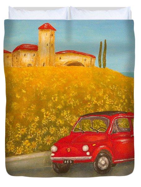 Vintage Fiat 500 Duvet Cover by Pamela Allegretto