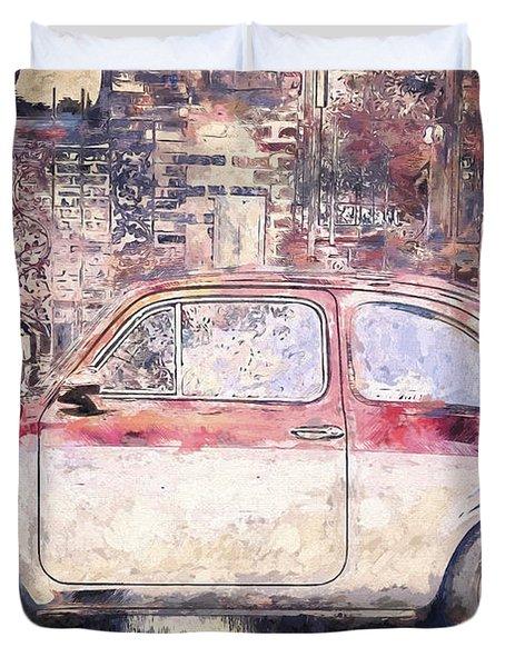 Vintage Fiat 500 Duvet Cover