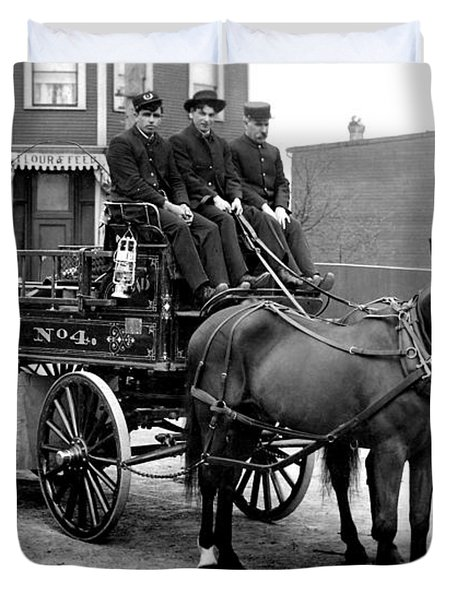 Vintage Fire Wagon Duvet Cover