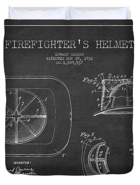 Vintage Firefighter Helmet Patent Drawing From 1932 Duvet Cover by Aged Pixel