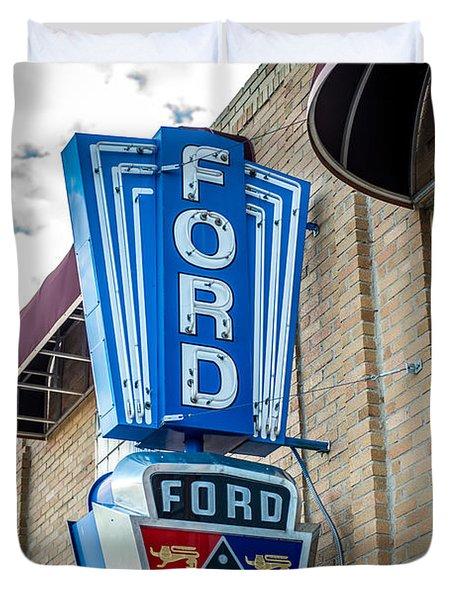 Vintage Ford Sign Duvet Cover