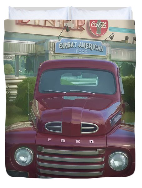 Vintage Ford Truck Outside The Tiltn Diner Duvet Cover by Edward Fielding