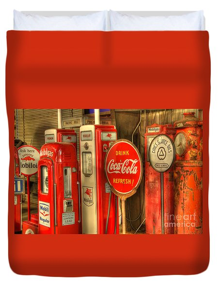 Vintage Gasoline Pumps With Coca Cola Sign Duvet Cover by Bob Christopher