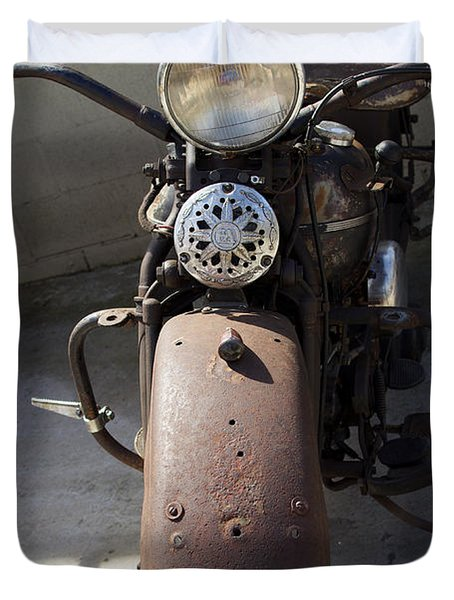 Vintage Harley Duvet Cover by Nick Kirby