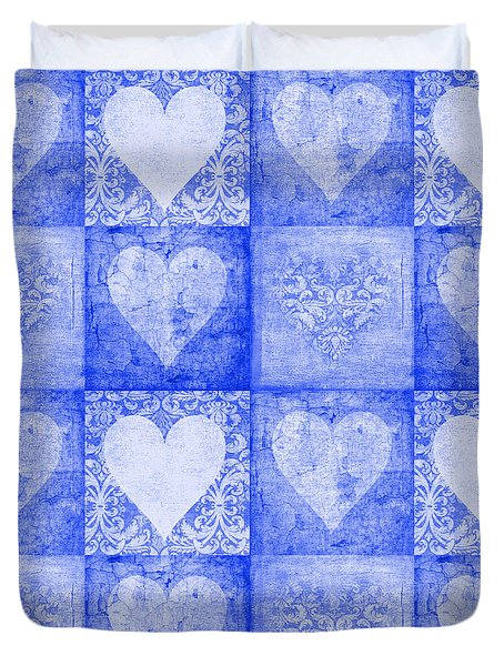 Duvet Cover featuring the photograph Vintage Hearts In Blue Multi by Suzanne Powers