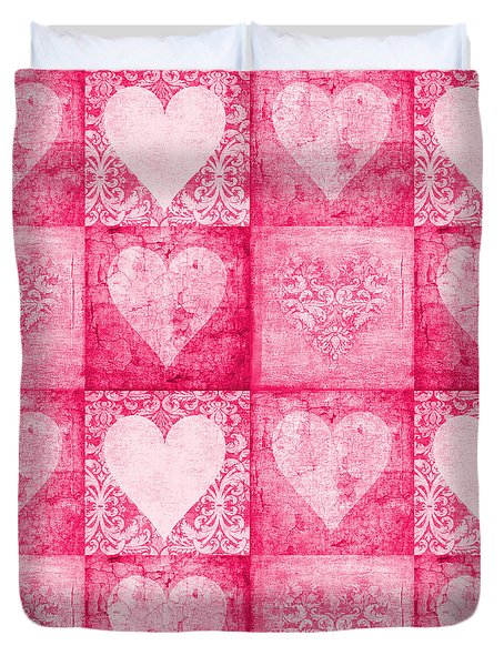 Duvet Cover featuring the photograph Vintage Hearts In Pink Multi by Suzanne Powers