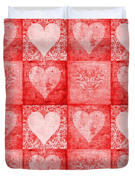 Duvet Cover featuring the photograph Vintage Hearts In Red Multi by Suzanne Powers