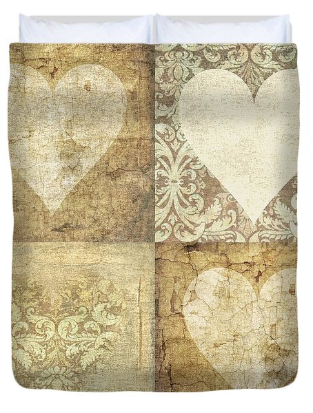 Duvet Cover featuring the photograph Vintage Hearts In Sepia by Suzanne Powers