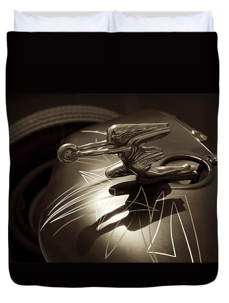 Vintage Hood Ornament - Sepia Art Decoprint Duvet Cover