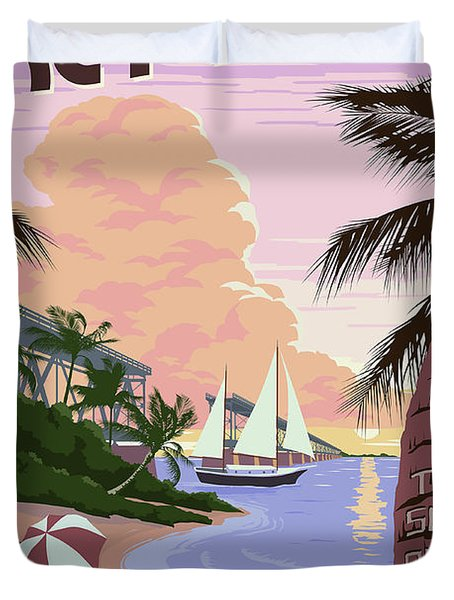 Vintage Key West Travel Poster Duvet Cover