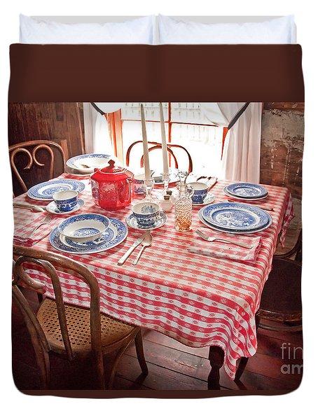 Vintage Kitchen Table Art Prints Duvet Cover