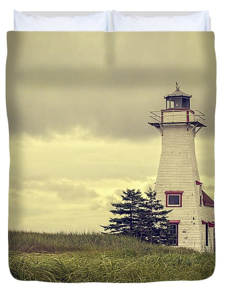 Vintage Lighthouse Pei Duvet Cover by Edward Fielding
