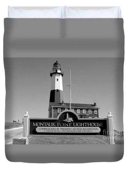 Vintage Looking Montauk Lighthouse Duvet Cover