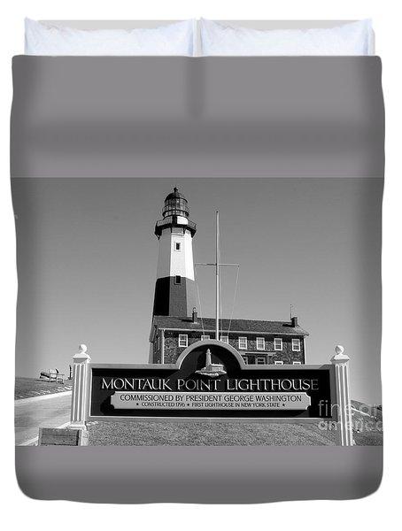 Vintage Looking Montauk Lighthouse Duvet Cover by John Telfer