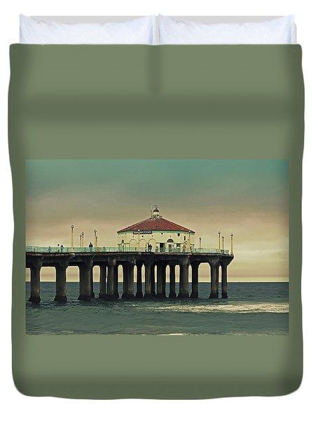 Vintage Manhattan Beach Pier Duvet Cover
