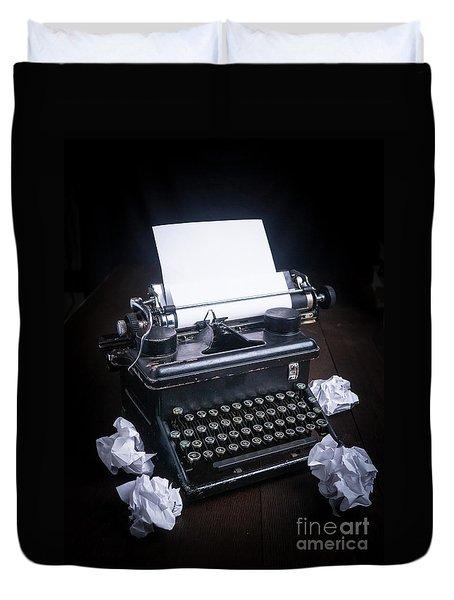 Vintage Manual Typewriter Duvet Cover by Edward Fielding