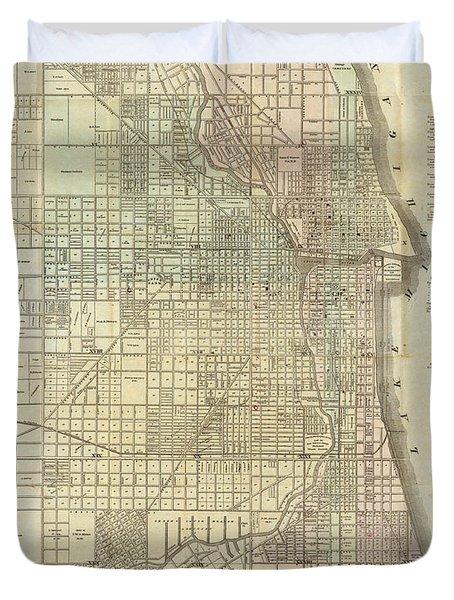 Vintage Map Of Chicago - 1857 Duvet Cover