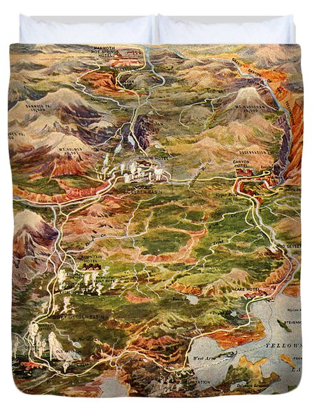 Vintage Map Of Yellowstone National Park Duvet Cover
