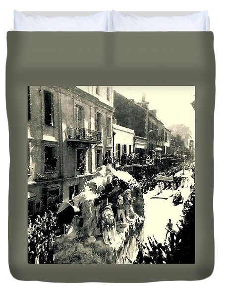 Duvet Cover featuring the photograph New Orleans Vintage Mardi Gras In The French Quarter Of  Louisiana  1960 by Michael Hoard