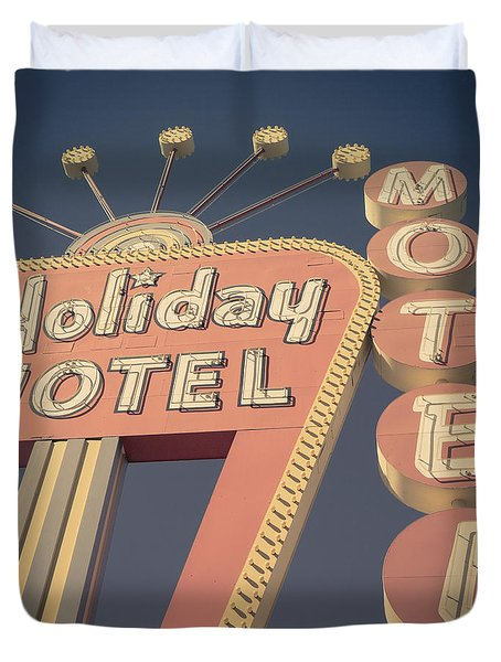Vintage Motel Sign Holiday Motel Square Duvet Cover
