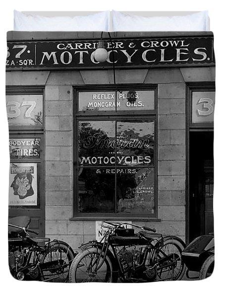 Vintage Motorcycle Dealership Duvet Cover by Jon Neidert