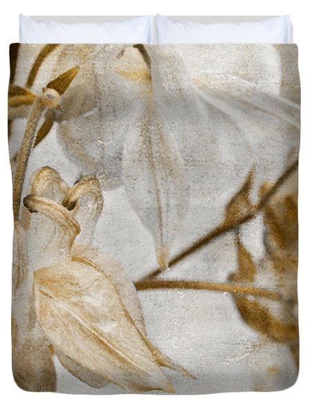 Duvet Cover featuring the photograph Vintage Neutral Flowers by Peggy Collins