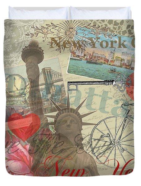 Vintage New York City Collage Duvet Cover