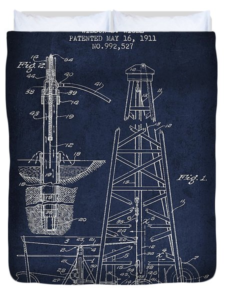 Vintage Oil Drilling Rig Patent From 1911 Duvet Cover