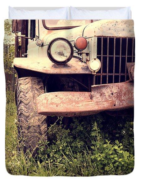 Vintage Old Dodge Work Truck Duvet Cover