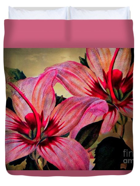 Vintage Painted Pink Lily Duvet Cover by Judy Palkimas