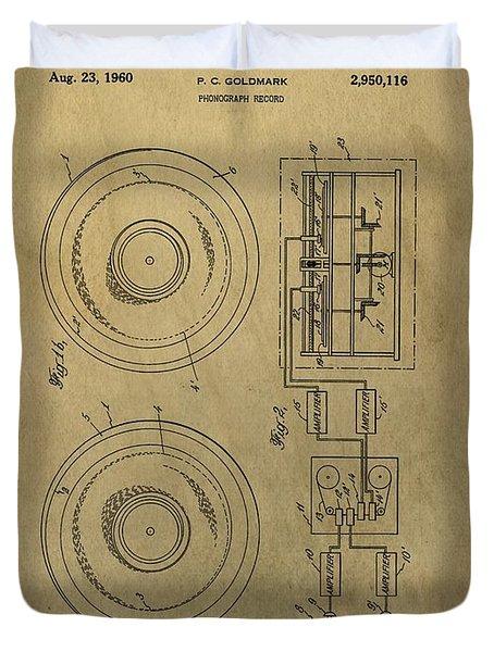 Vintage Phonograph Patent Illustrattion Duvet Cover