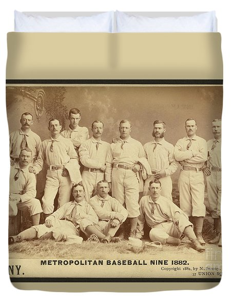 Vintage Photo Of Metropolitan Baseball Nine Team In 1882 Duvet Cover